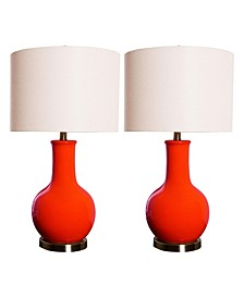 Shandi Red Ceramic Table Lamp, Set of 2