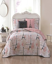 Amour Paris Themed 4pc Twin Reversible Quilt Set