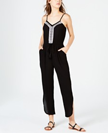 American Rag Juniors' Embroidered Jumpsuit, Created for Macy's