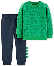 2-Pc. Baby Boys Cotton Dinosaur-Print Sweatshirt & Jogger Pants Set