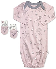 Baby Girls 2-Pc. Organic Cotton Bambi Gown & Mitts Set