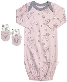 finn + emma Baby Girls 2-Pc. Organic Cotton Bambi Gown & Mitts Set
