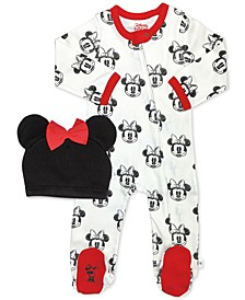 Baby Girls 2-Pc. Cotton Minnie Mouse Footed Coverall & Hat Set