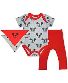 finn + emma Baby Boys 3-Pc. Cotton Mickey Mouse Bib, Bodysuit & Pants Set