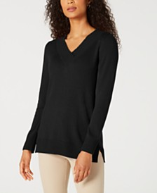 Karen Scott V-Neck Solid Sweater, Created for Macy's