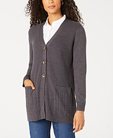 Mixed-Stitch Button-Front Cardigan, Created for Macy's