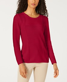 Karen Scott Patchwork-Stitch Pullover Sweater, Created for Macy's