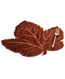 Elrene Swaying Leaves Rust Velvet Placemat
