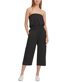 DKNY Cotton Strapless Jumpsuit