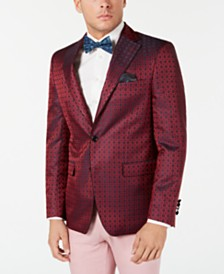 Tallia Men's Slim-Fit Burgundy Medallion Dinner Jacket