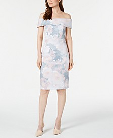 Soft Floral Off-The-Shoulder Sheath Dress