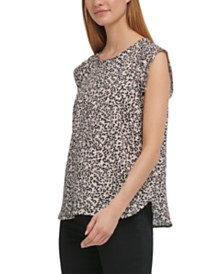 DKNY Flutter Cap-Sleeve Top