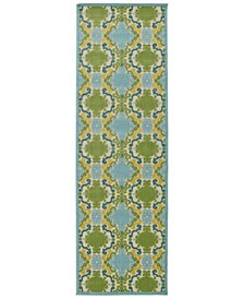 "A Breath of Fresh Air FSR101-17 Blue 2'6"" x 7'10"" Runner Rug"