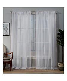 "Pom Pom Embellished Sheer Rod Pocket Top Curtain Panel Pair, 54"" x 84"""