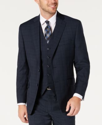 Men's Classic-Fit Airsoft Stretch Teal Plaid Suit Separate Jacket