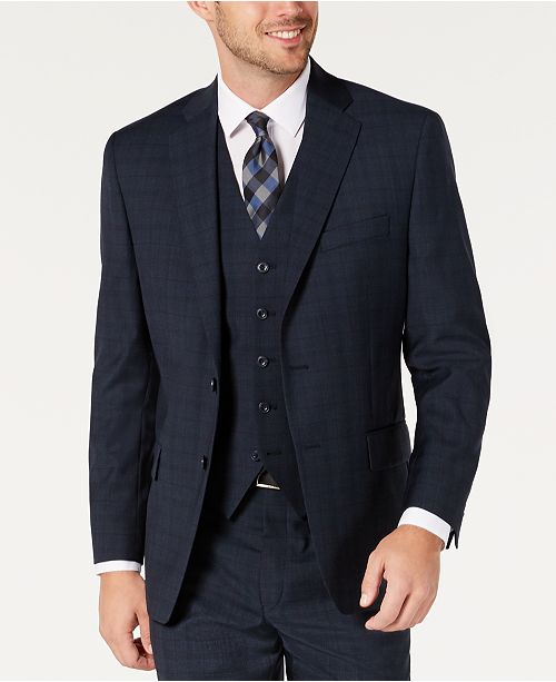 Michael Kors Men's Classic-Fit Airsoft Stretch Teal Plaid Suit Separate Jacket
