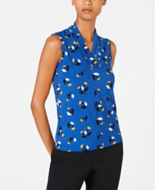 Anne Klein Floral-Print Pleated-Neck Top