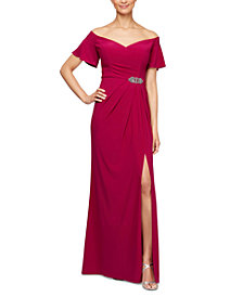 Alex Evenings Off-The-Shoulder Gown