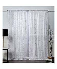 "Nicole Miller Vanderbilt Metallic Print Sheer Rod Pocket Top 54"" X 96"" Curtain Panel Pair"