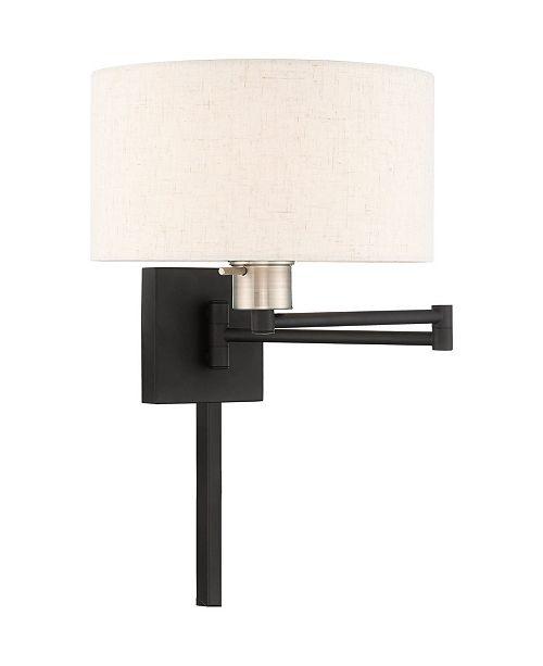 Livex 1-Light Drum Shade Swing Arm Wall Lamp