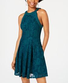 Speechless Juniors' Lace Halter Dress
