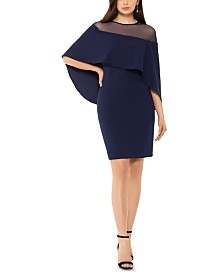 Betsy & Adam Scuba Crepe Overlay Dress