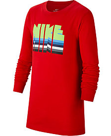 Nike Big Boys Logo Graphic Long Sleeve T-Shirt