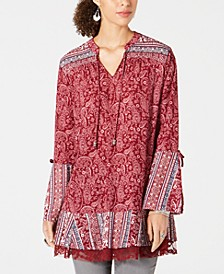 Printed Lace-Trimmed Bell-Sleeve Tunic Top, Created for Macy's