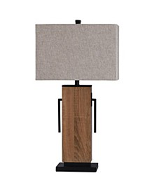 Brigg 32in Wooden Base and Metal Accent Table Lamp