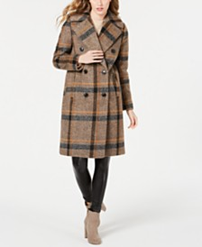 Kendall + Kylie Plaid Double-Breasted Coat