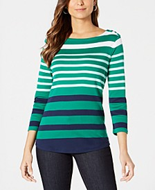 Pima Cotton  Button-Shoulder Stripe Top, Created  for Macy's
