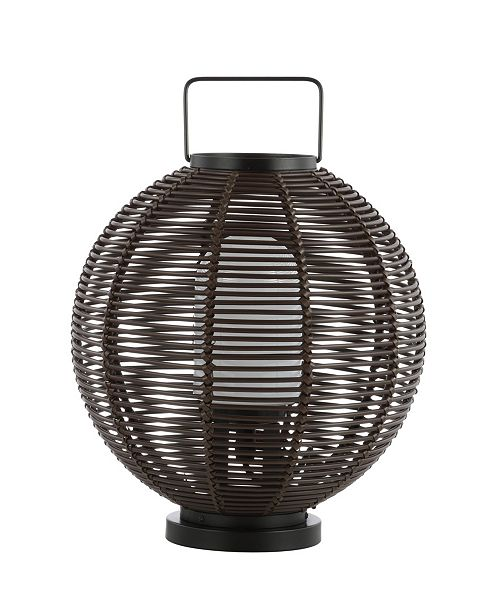 "JONATHAN Y Jigu 22"" Outdoor Woven Globe Asian LED Lantern"