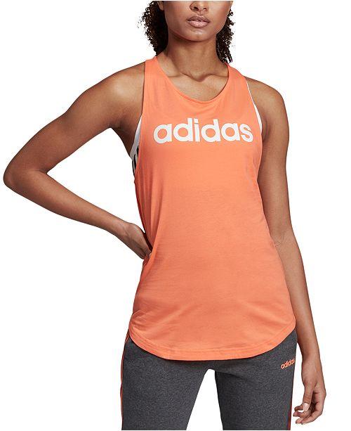 adidas Women's Linear Logo Relaxed Racerback Tank Top