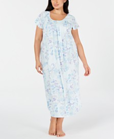 Miss Elaine Plus Size Knit Floral-Print Nightgown
