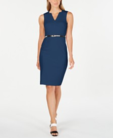 Calvin Klein Petite V-Neck Belted Dress