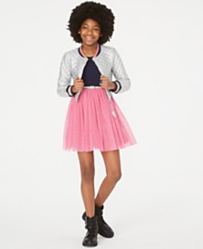 Beautees Big Girls Quilted Bomber Jacket & Belted Skater Dress Set