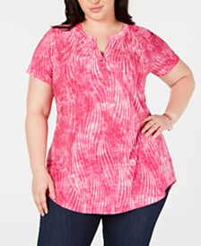 NY Collection Plus Size Printed Pintucked Top