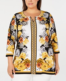 JM Collection Plus Size Chain-Neck Printed Top, Created for Macy's