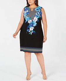 JM Collection Plus Size Sleeveless Printed Sheath Dress, Created for Macy's