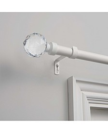 "Crystal Ball 1"" Curtain Rod and Coordinating Finial Set, Adjustable 66""-120"""