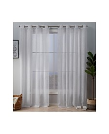 """Exclusive Home Crest Stripe Embellished Sheer Grommet Top 54"""" X 84"""" Curtain Panel Pair"""