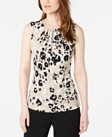 Calvin Klein Petite Floral Printed Pleat-Neck Top