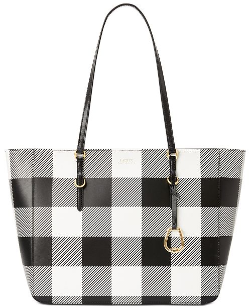 Lauren Ralph Lauren Saffiano Leather Gingham Tote