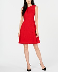 Nanette Lepore Cotton Eyelet Fit & Flare Dress, Created for Macy's