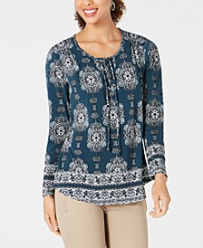 Printed Lace-Up Long-Sleeve Top, Created for Macy's