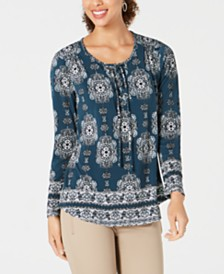 Style & Co Petite Medallion Lace-Up Top, Created for Macy's