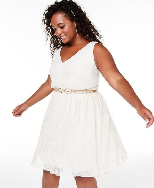 Trendy Plus Size Embellished Fit & Flare Dress, Created for Macy\'s