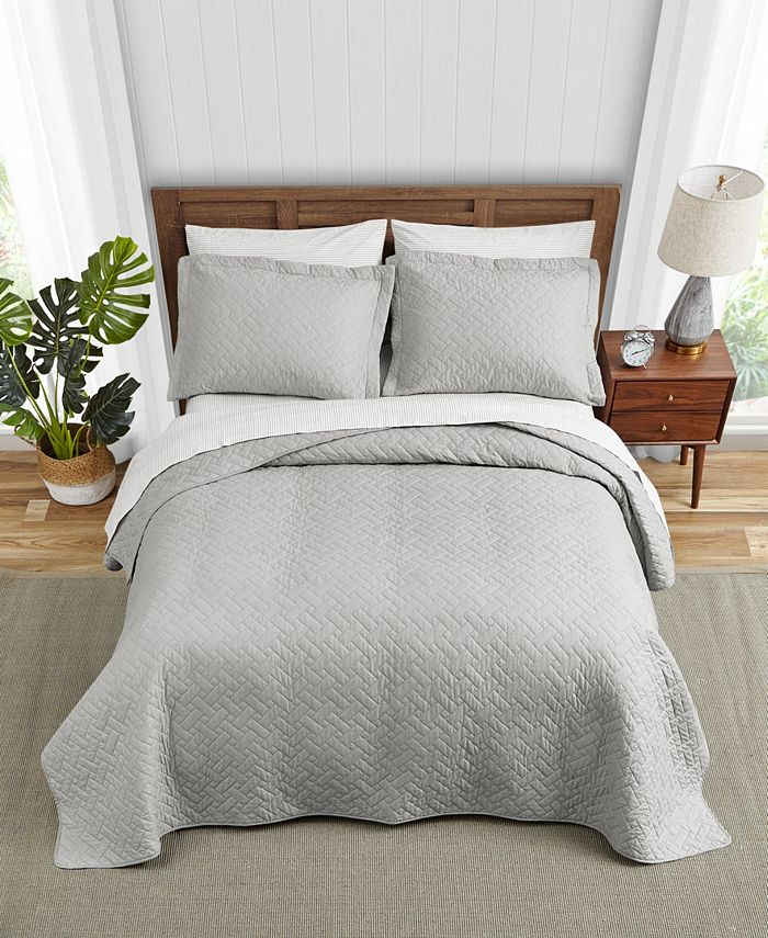 Tommy Bahama Home - Solid Pelican Grey Quilt Set, Twin