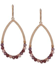 Gold-Tone Beaded Open Drop Earrings