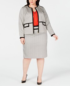 Calvin Klein Plus Size Piped-Trim Jacket, Zip-Up Top & Piped-Trim Skirt
